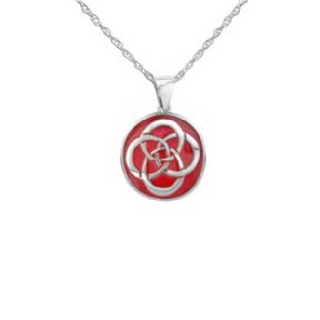 Celtic Knot Silver Round Pendant with Red Enamel 9405